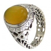 انگشتر عقیق زرد شرف الشمس طرح شهنام مردانه