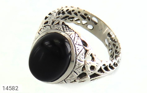 انگشتر عقیق سیاه طرح شهنام مردانه - عکس 1