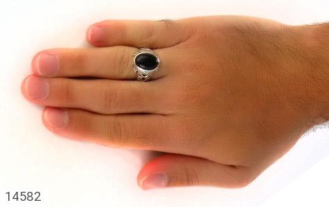 انگشتر عقیق سیاه طرح شهنام مردانه - عکس 7