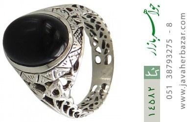 انگشتر عقیق سیاه طرح شهنام مردانه - کد 14582