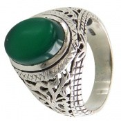 انگشتر عقیق سبز طرح شهراد مردانه