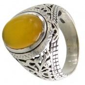 انگشتر عقیق زرد حکاکی شرف الشمس مردانه