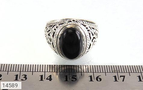 انگشتر عقیق سیاه خوش رنگ مردانه - تصویر 6