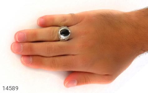 انگشتر عقیق سیاه خوش رنگ مردانه - عکس 7