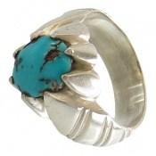 انگشتر فیروزه نیشابور خوش رنگ مردانه