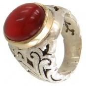 انگشتر عقیق قرمز یمن خوش رنگ مردانه