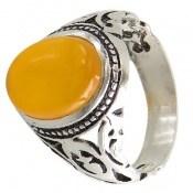 انگشتر عقیق زرد شرف الشمس طرح بهراد مردانه