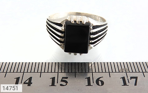 انگشتر عقیق سیاه طرح رحمان مردانه - تصویر 6