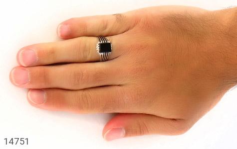 انگشتر عقیق سیاه طرح رحمان مردانه - عکس 7