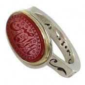 انگشتر عقیق یمن قرمز خوش رنگ حکاکی فاخر مردانه