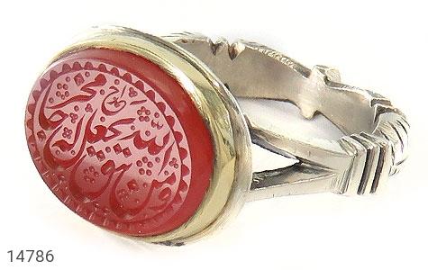 انگشتر عقیق یمن حکاکی و من یتق الله استاد احمد رکاب دست ساز - عکس 1