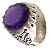 انگشتر آمتیست درشت سلطنتی خوش رنگ مردانه