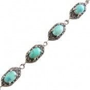دستبند مارکازیت و فیروزه نیشابوری ارزشمند و باشکوه زنانه