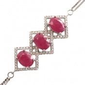 دستبند یاقوت سرخ سه نگین پرنسس زنانه