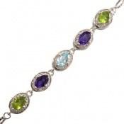 دستبند توپاز و آمتیست و زبرجد سلطنتی خوش رنگ زنانه کد 15163