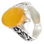 انگشتر عقیق زرد شرف الشمس رکاب یاحسین و یاعباس مردانه