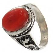 انگشتر عقیق قرمز رکاب یا علی مردانه