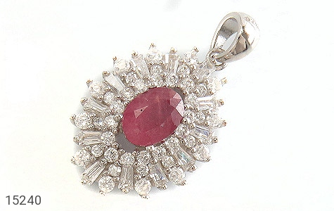 مدال یاقوت سرخ جواهری زنانه - عکس 1