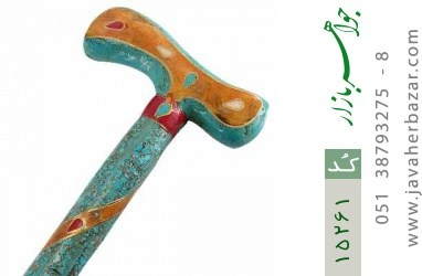 عصا فیروزه و چوب و صدف و مرجان و کهربا فریم دست ساز - کد 15261