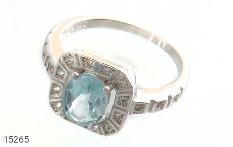 انگشتر توپاز آبی طرح ساغر زنانه - عکس 1