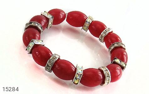 دستبند جید قرمز درشت زنانه - عکس 1