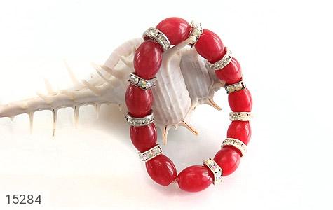 دستبند جید قرمز درشت زنانه - عکس 3