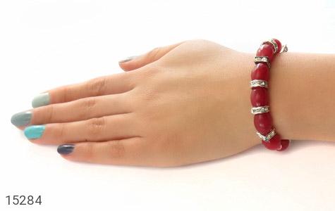دستبند جید قرمز درشت زنانه - عکس 5