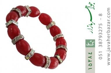 دستبند جید قرمز درشت زنانه - کد 15284