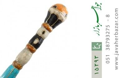 عصا فیروزه و چوب و کهربا و صدف فریم دست ساز - کد 15293