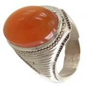 انگشتر عقیق نارنجی یمن درشت مردانه