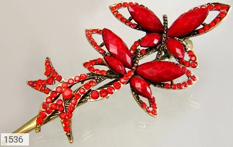 گل سر قرمز طرح پروانه زنانه - عکس 3