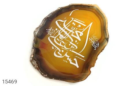 نگین تک عقیق حکاکی صلی الله علیک یا ایها حسن بن علی المجتبی علیه السلام - عکس 1
