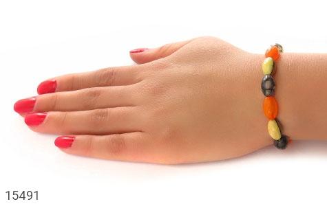 دستبند عقیق و کهربا پودری زنانه - عکس 5
