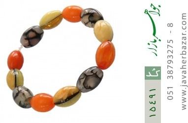دستبند عقیق و کهربا پودری زنانه - کد 15491