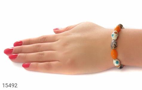 دستبند استخوان و عقیق و کهربا پودری زنانه - عکس 5