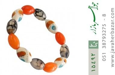 دستبند استخوان و عقیق و کهربا پودری زنانه - کد 15492