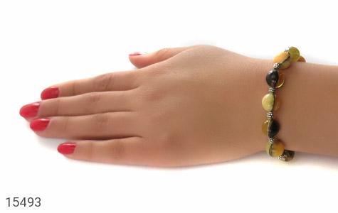 دستبند کهربا پودری خوش رنگ زنانه - عکس 5