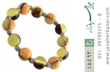 دستبند کهربا پودری خوش رنگ زنانه - کد 15493