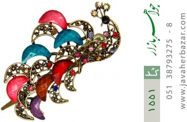 گل سر درشت طرح طاووس زنانه - کد 1551