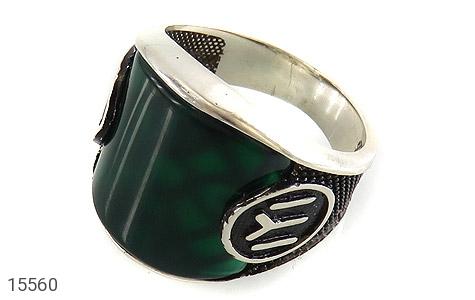 انگشتر عقیق سبز درشت - عکس 1