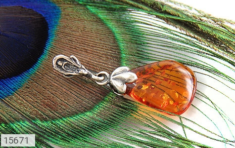 مدال کهربا بولونی لهستان عسلی حبابدار - تصویر 4