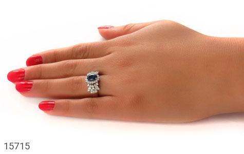 انگشتر یاقوت کبود طرح جواهری زنانه - عکس 7