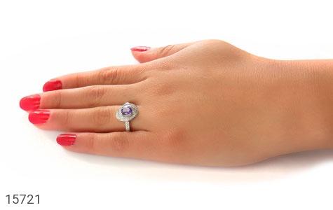 انگشتر آمتیست طرح نازگل زنانه - عکس 7