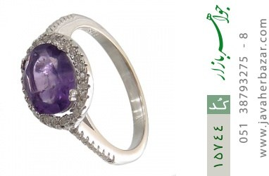 انگشتر آمتیست زیبا طرح صفوی زنانه - کد 15744