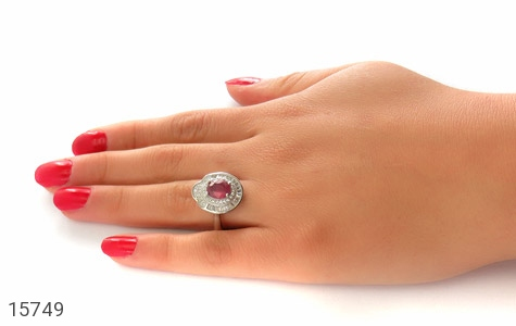 انگشتر یاقوت سرخ طرح یاسمن زنانه - عکس 7