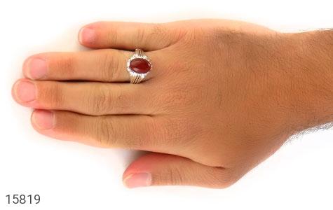 انگشتر عقیق قرمز مردانه - عکس 7