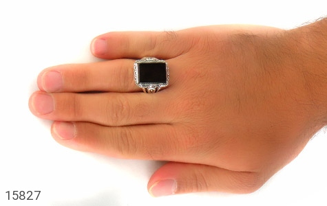 انگشتر عقیق سیاه درشت طرح رحیم مردانه - عکس 7