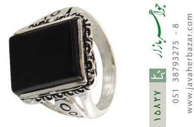 انگشتر عقیق سیاه درشت طرح رحیم مردانه - کد 15827