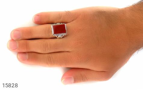 انگشتر عقیق قرمز درشت طرح رحیم مردانه - عکس 7