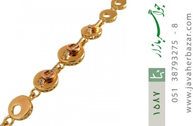 دستبند نقره آب رودیوم زرد زنانه - کد 1587